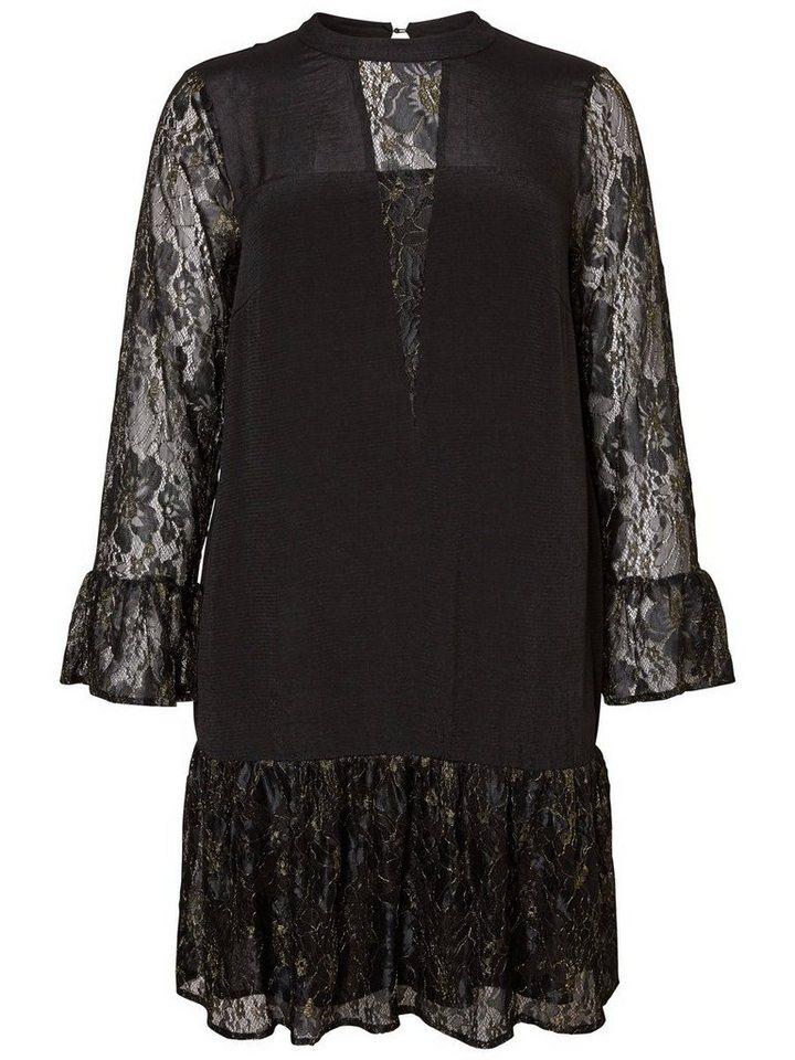 Junarose kanten jurk met lange mouwen zwart