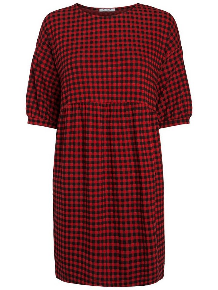 Pieces Geruite jurk rood