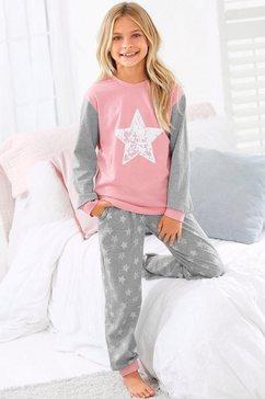 arizona pyjama in een lang model met sterretjesprint roze
