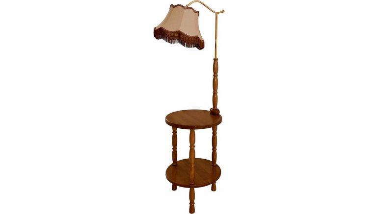 Lamp Met Tafeltje.Laue Leuchten Staande Led Lamp Met Tafeltje Kap Van Imitatieleer