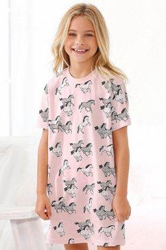 petite fleur meisjesnachthemd met allover-paardenprint roze