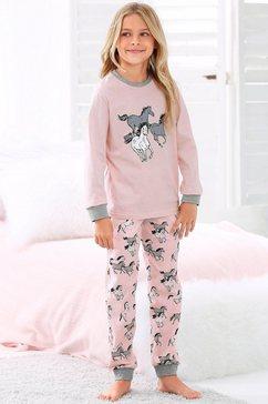 petite fleur pyjama in een lang model met paardenprint roze