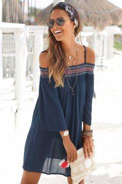 s.oliver red label beachwear strandjurk blauw