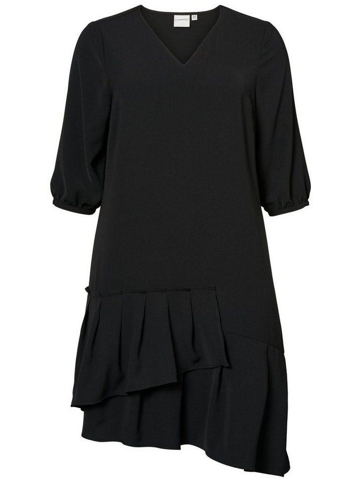 Junarose Asymmetrische lange mouw jurk zwart