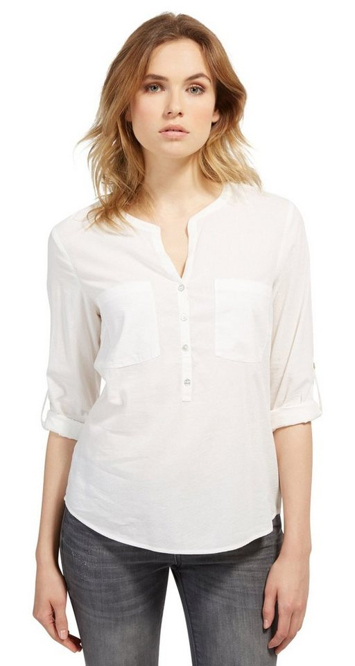 - NU 21% KORTING TOM TAILOR Blouse Bluse mit feiner Struktur