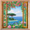 home affaire decoratief paneel a.del missier - sulla costa mediterranea 70-70 cm multicolor