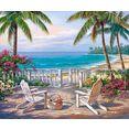 home affaire decoratief paneel sung kim - blik op de kust 80-60 cm blauw
