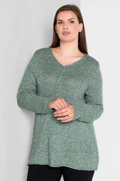sheego style trui met v-hals in a-lijn groen