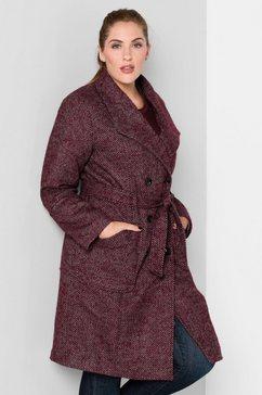 sheego style korte jas met wolaandeel rood