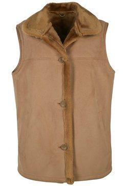 jcc mouwloos vest met zachte overhemdkraag »linda« bruin