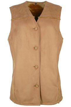 jcc mouwloos vest met zacht imitatiebont »islando« bruin