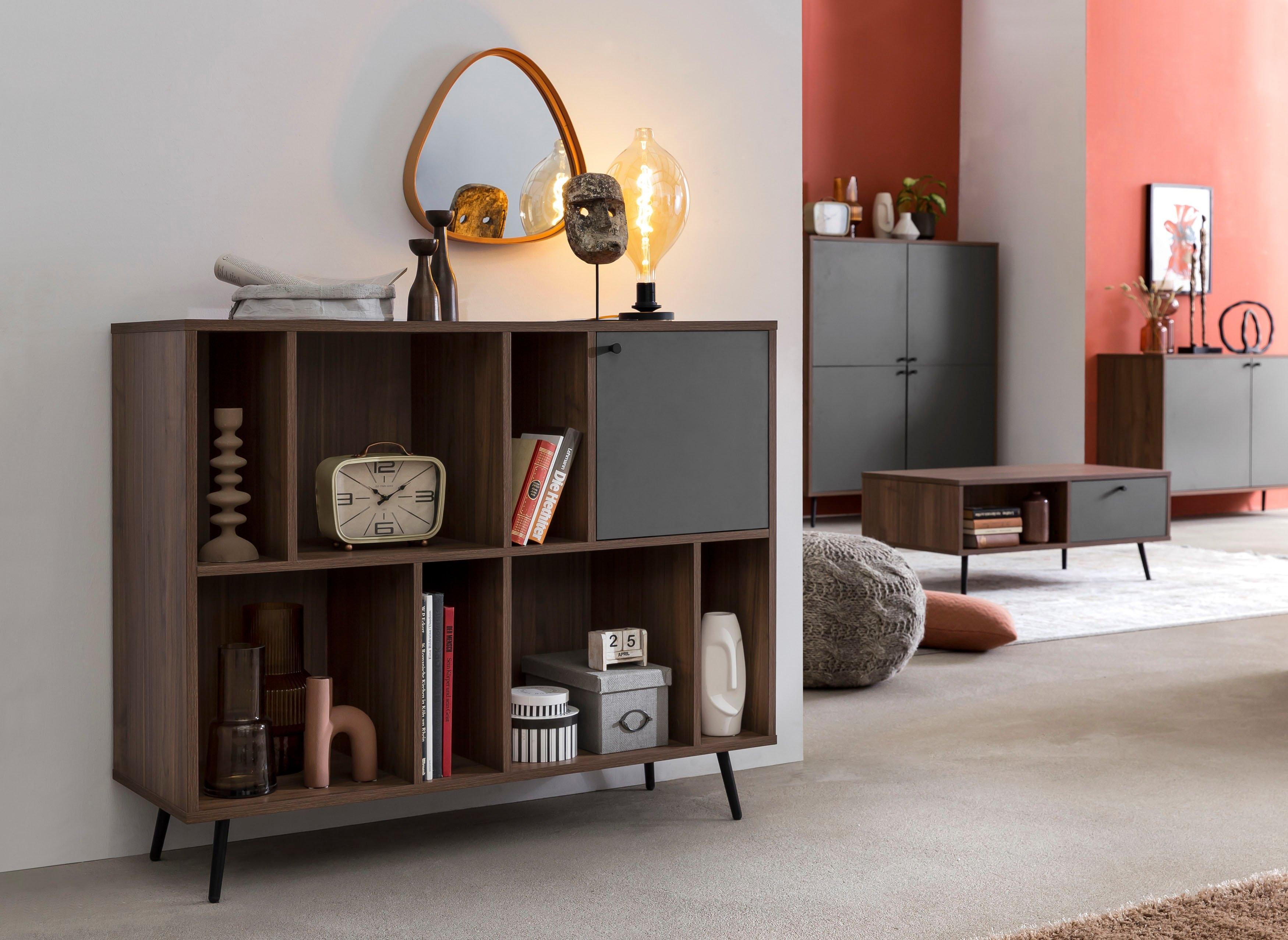 SalesFever boekenkast in moderne walnootkleur - verschillende betaalmethodes