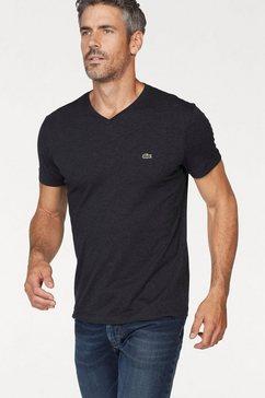 lacoste shirt met v-hals van puur katoen zwart