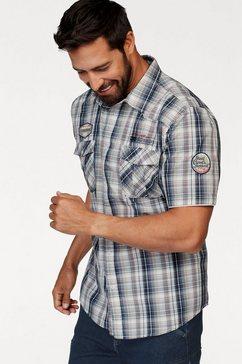 man's world overhemd met korte mouwen in geruit ontwerp blauw