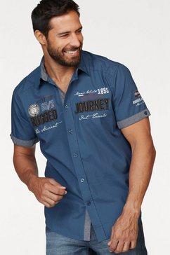 man's world overhemd met korte mouwen met print en applicaties blauw
