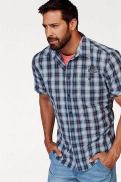 man's world overhemd met korte mouwen met kleine print blauw