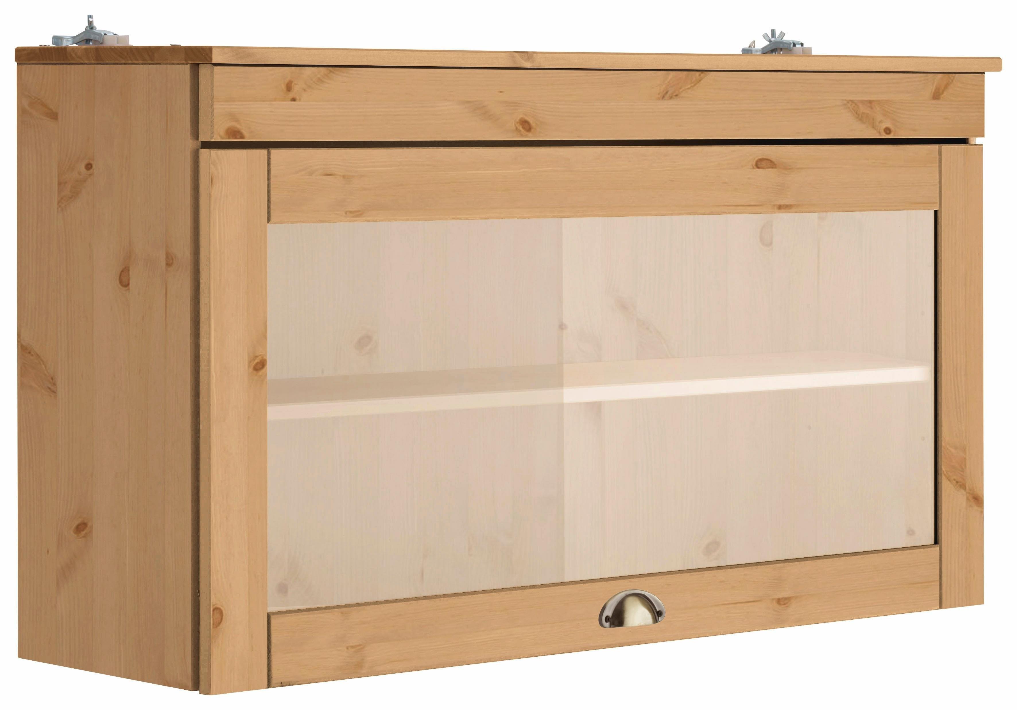 Home affaire hangend kastje met glasdeur Oslo 100 cm breed, van massief grenen, 1 klep, metalen greep, landhuis-look veilig op otto.nl kopen