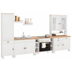 home affaire keukenblok oslo zonder elektrische apparaten, breedte 350 cm, 35 mm dik doorlopend werkblad, van massief grenen, met metalen handgrepen, landhuis-keuken wit