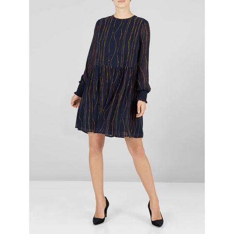 Y.A.S chiffon jurk met lange mouwen blauw