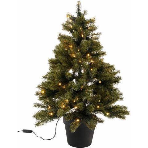 Premium-kunstkerstboom met zwarte kunststof pot en led-lichtsnoer op batterijen