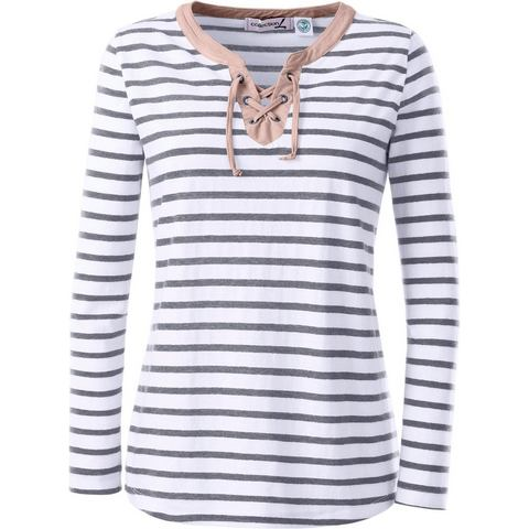Collection L. NU 15% KORTING: Collection L. shirt met bindstrik en versiering bij de hals