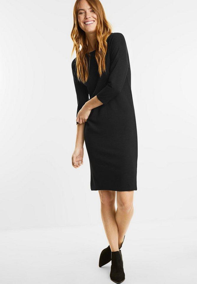 Street One jersey jurk met 3/4-mouwen zwart
