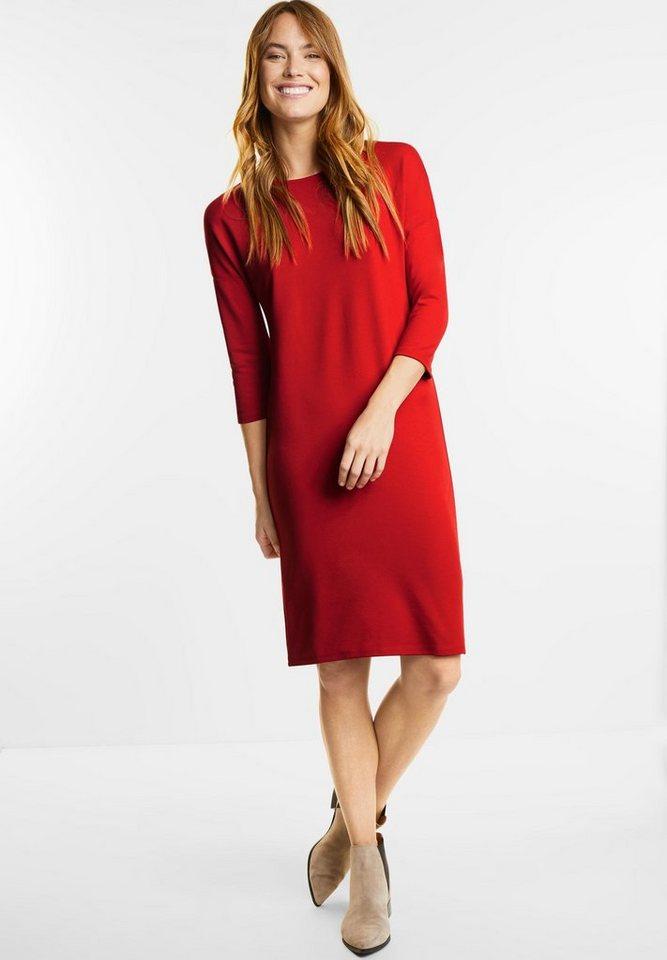 Street One jersey jurk met 3/4-mouwen oranje