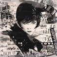 home affaire artprint op hout fashion gezicht 40-40 cm zwart