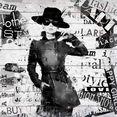 home affaire artprint op hout »fashion a. hepburn« zwart