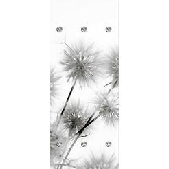queence kapstokpaneel paardenbloemen met 6 haken, 50 x 120 cm grijs