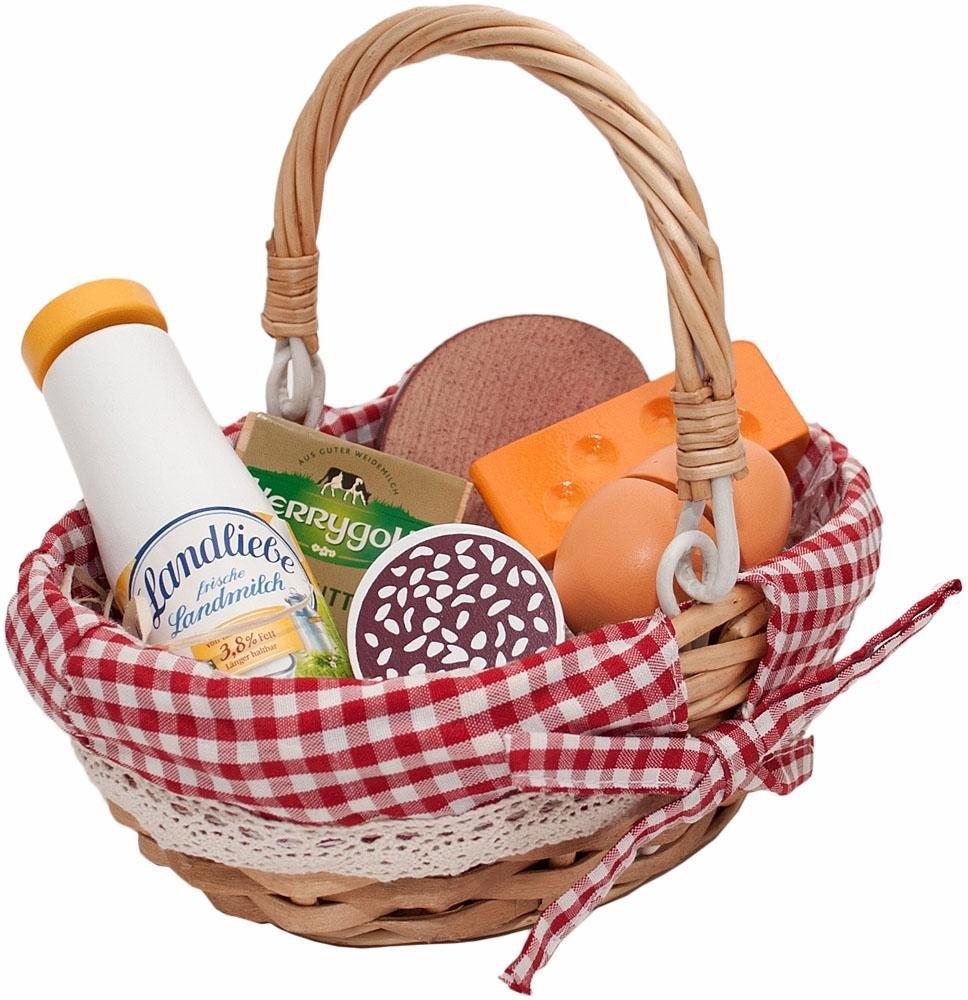 Tanner boodschappenmand met speellevensmiddelen van hout, »picknickmand« bestellen: 14 dagen bedenktijd