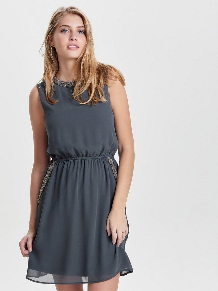 ONLY Gedetailleerde Mouwloze jurk grijs