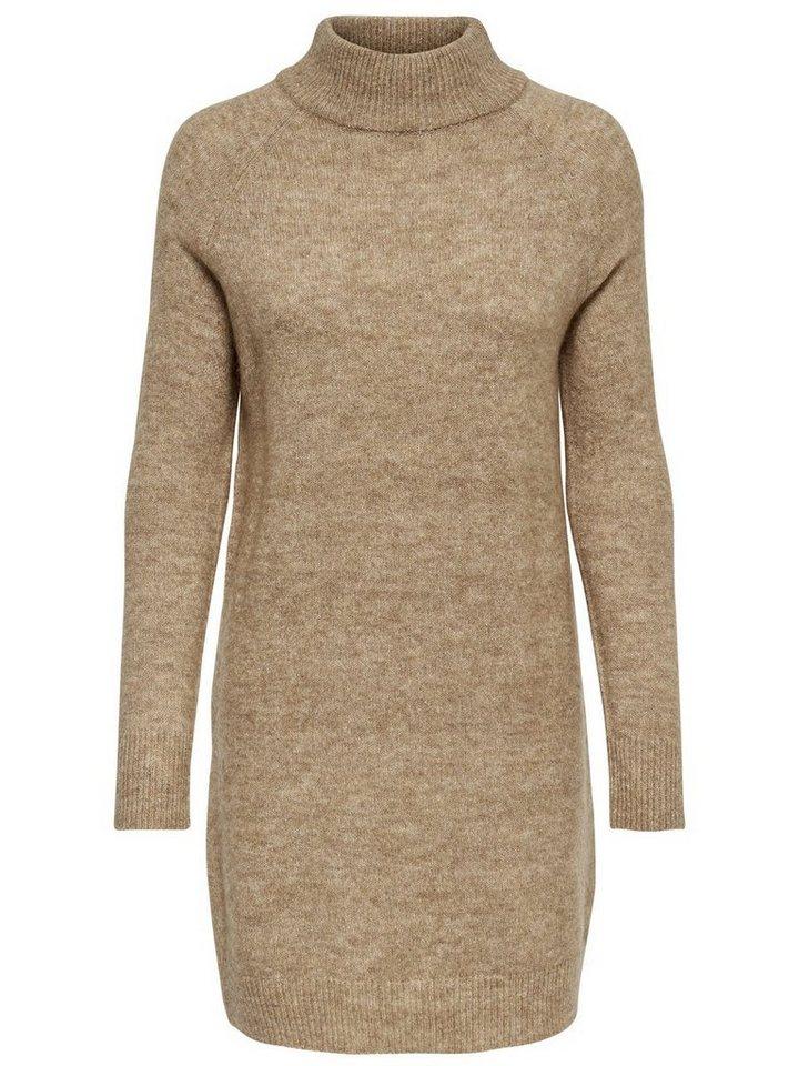ONLY High-neck gebreide jurk bruin