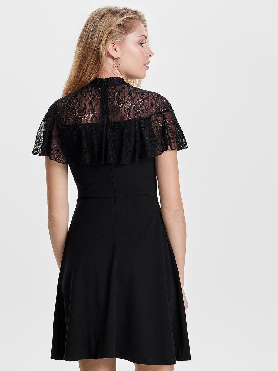 Zwarte kanten jurk only