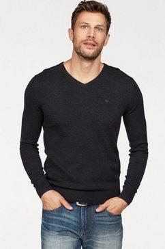 tom tailor trui met v-hals met geborduurd logo grijs