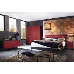 inosign futonbed met een bekleed hoofdbord rood