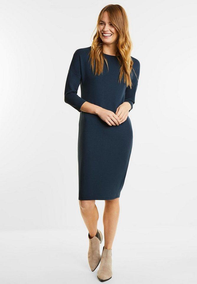 Street One jersey jurk met 3/4-mouwen blauw