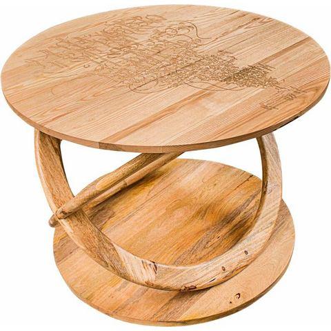 Home affaire salontafel Kabir, met Indiaas houtsnijwerk en in elkaar versmolten houten ring-poten