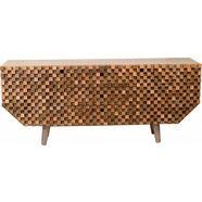 home affaire dressoir »crookston«, met freeswerk in kleine schaakbordmotief-look, breedte 177 cm beige