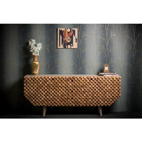 Home affaire dressoir Crookston, met freeswerk in kleine schaakbordmotief-look, breedte 177 cm