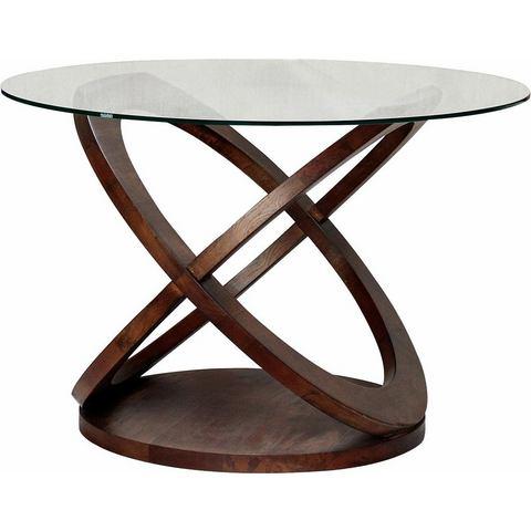 Home affaire eettafel Ring, met een rond glazen blad en twee poten in houten ringen-look