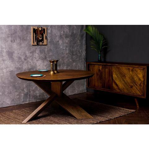Home affaire eettafel Crosville, met zachte vormen en rond tafelblad, gekruiste poten