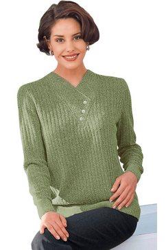 classic trui met topmodieuze ribstructuur groen
