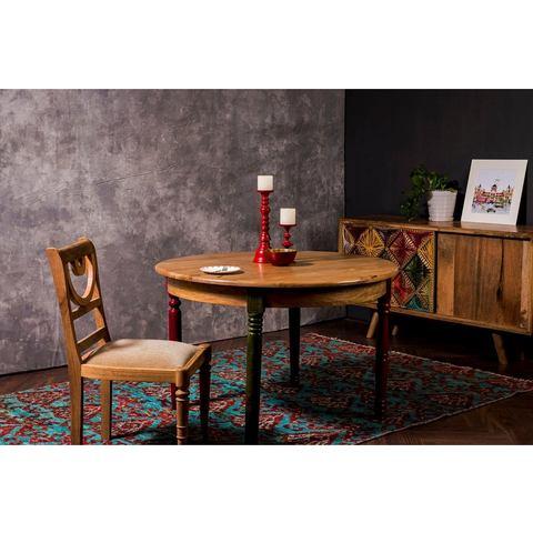 Home affaire eettafel Fiore, rond tafelblad en 4 verschillend gekleurde tafelpoten, breedte 120 cm