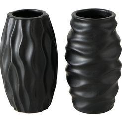 boltze tafelvaas janina (set, 2 stuks) zwart