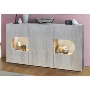 tecnos dressoir »real«, breedte 150 cm met 3 deuren grijs