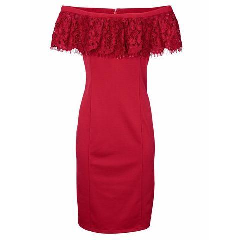 kanten jurk rood