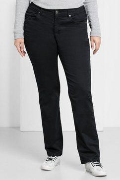 sheego basic sheego casual basic stretchbroek 'recht' zwart