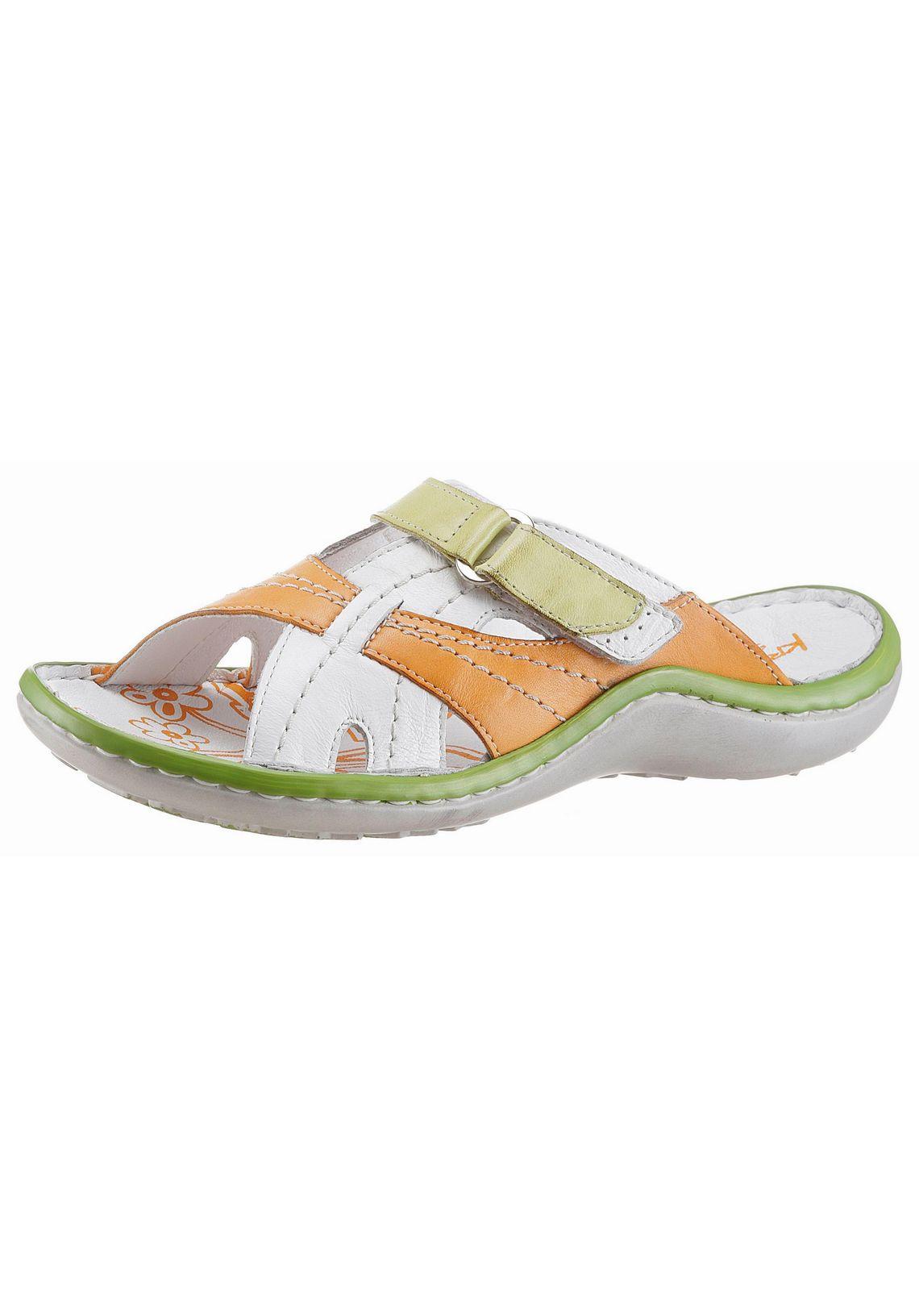 KRISBUT sandaaltjes vind je bij  wit/oranje/groen