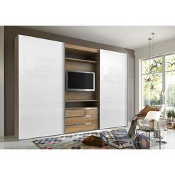 fresh to go zweefdeurkast met draaibaar tv-element, buitendeuren met glas beige